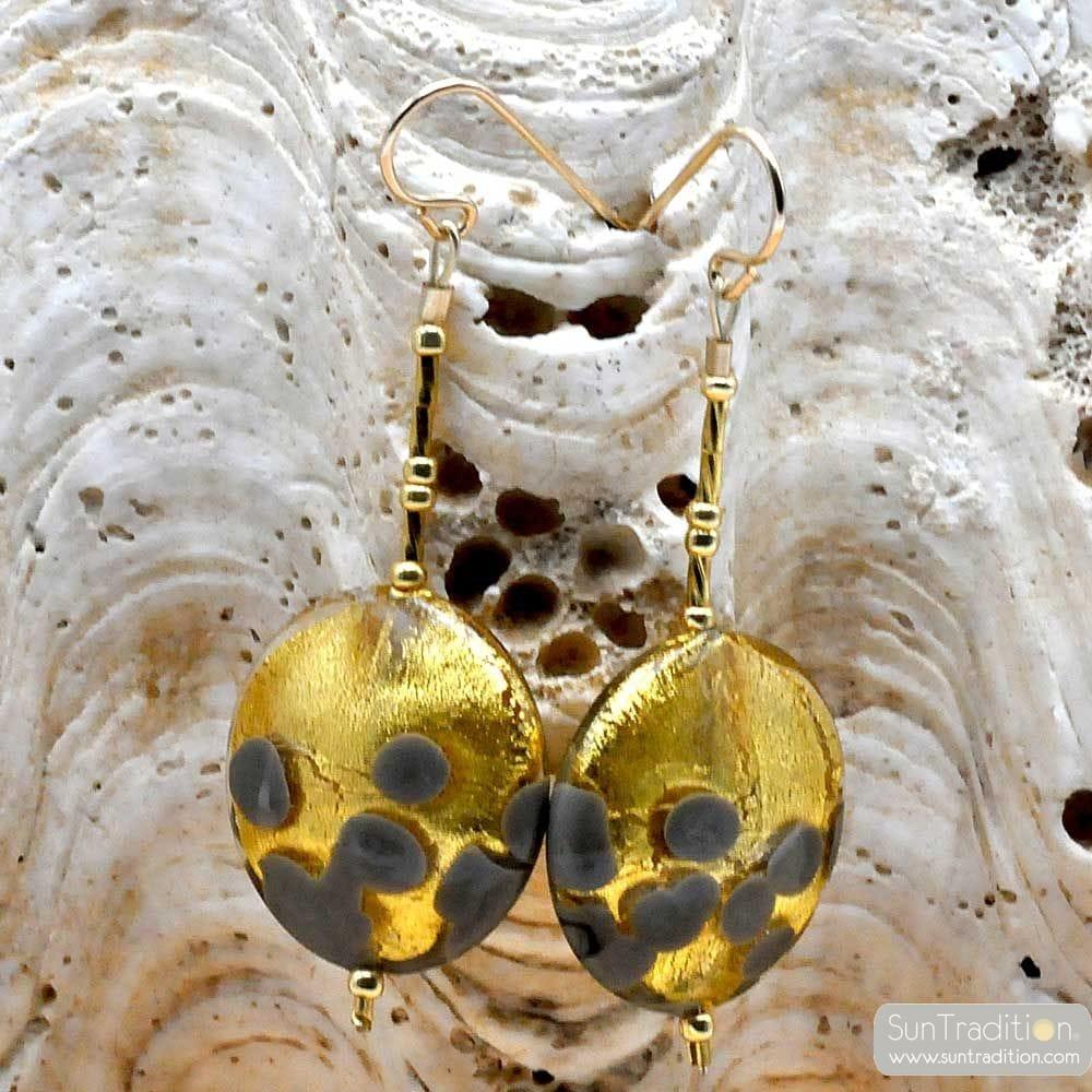 orecchini a PENZOLONI PASTIGLIE di GRIGIO E ORO AUTENTICO VETRO di MURANO DI VENEZIA