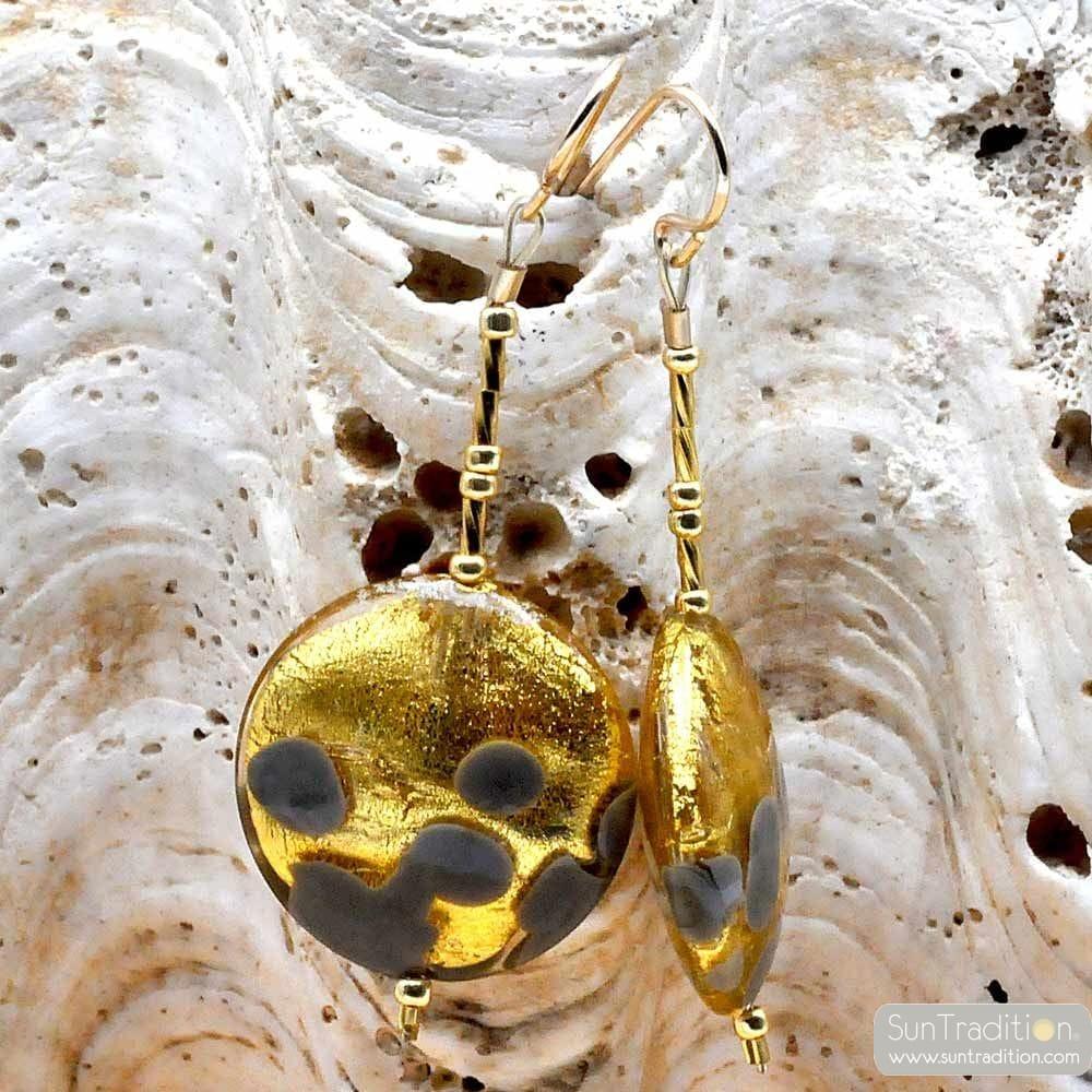 OHRRINGE GRAU UND GOLD MURANOGLAS AUS VENEDIG