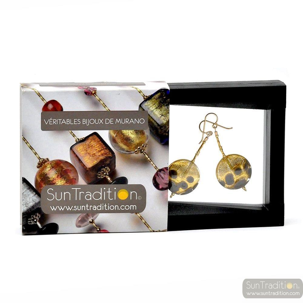 Puesta de sol de color GRIS aretes COLGANTES de PASTILLAS de GRIS Y ORO AUTÉNTICO CRISTAL de MURANO DE VENECIA