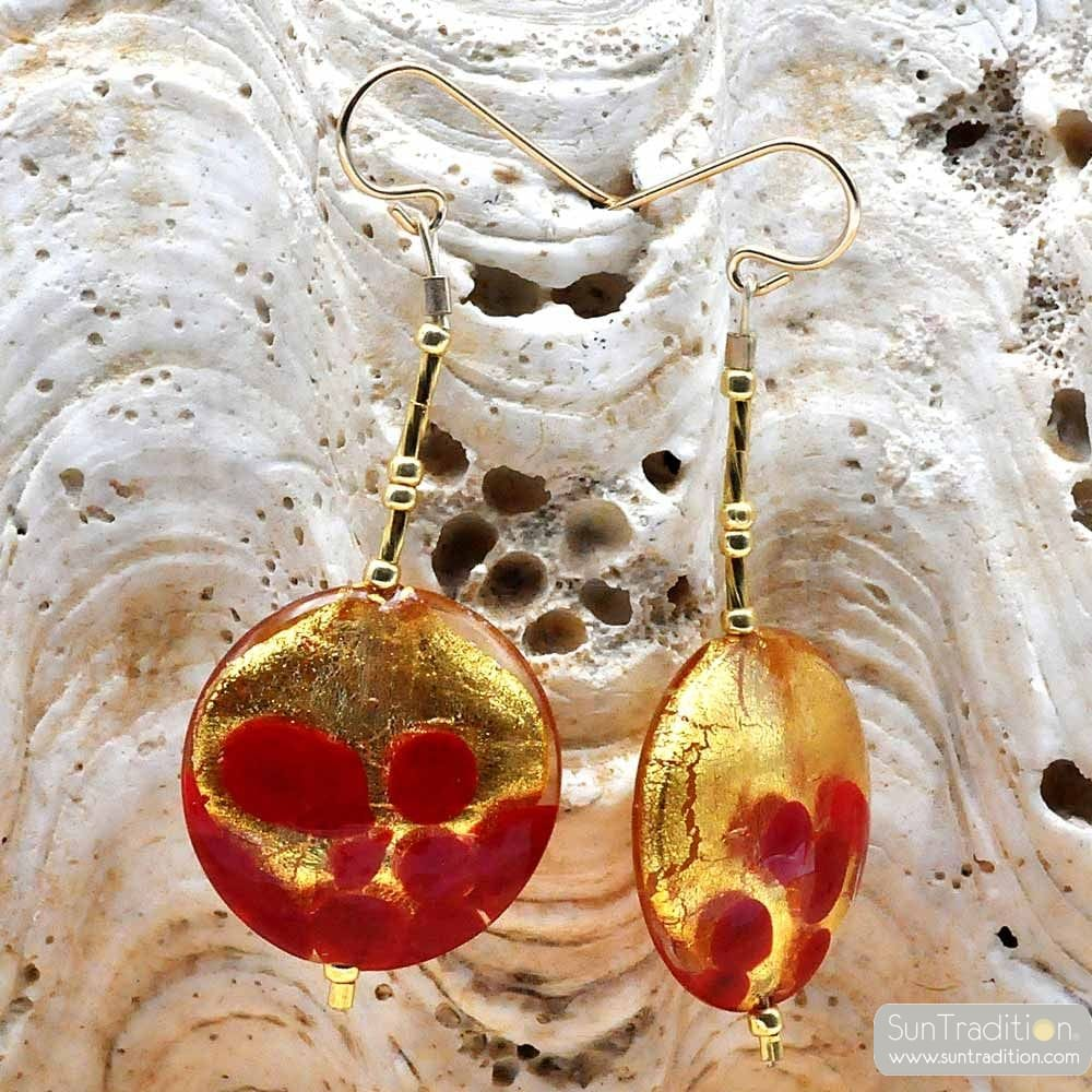 RED AND GOLD MURANO GLASS EARRINGS OF VENICE