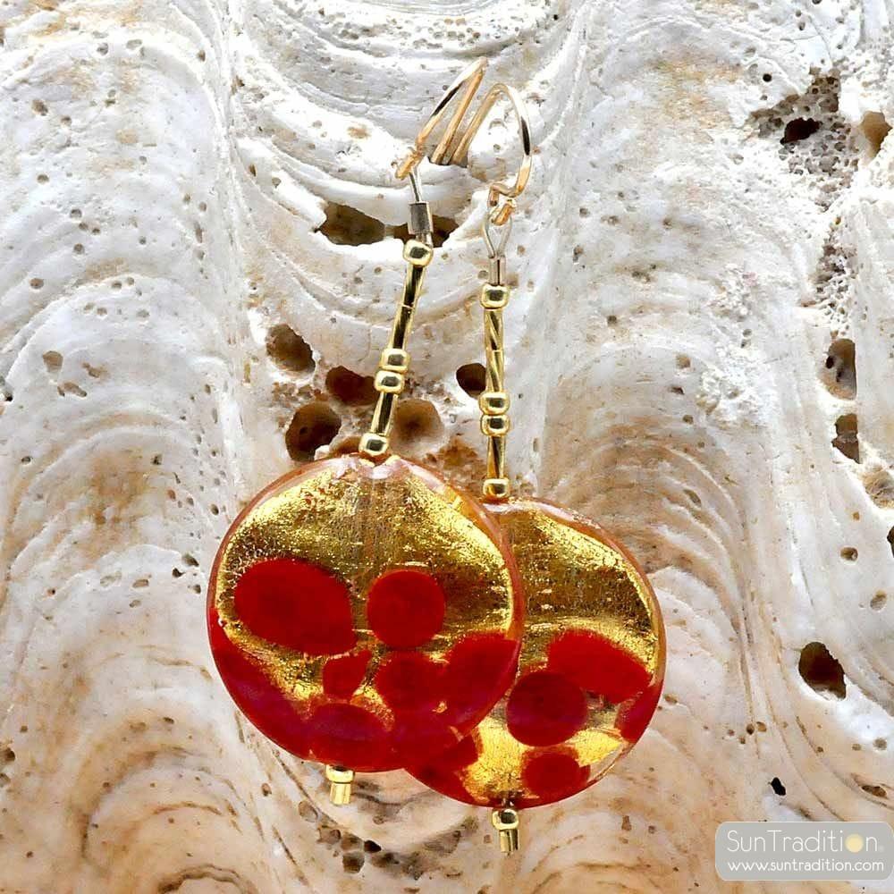 SUNSET CZERWONY - srebrny WISZĄCE KOLCZYKI ZIARENKA CZERWONEGO I ZŁOTEGO VERITABLE SZKŁA MURANO Z WENECJI