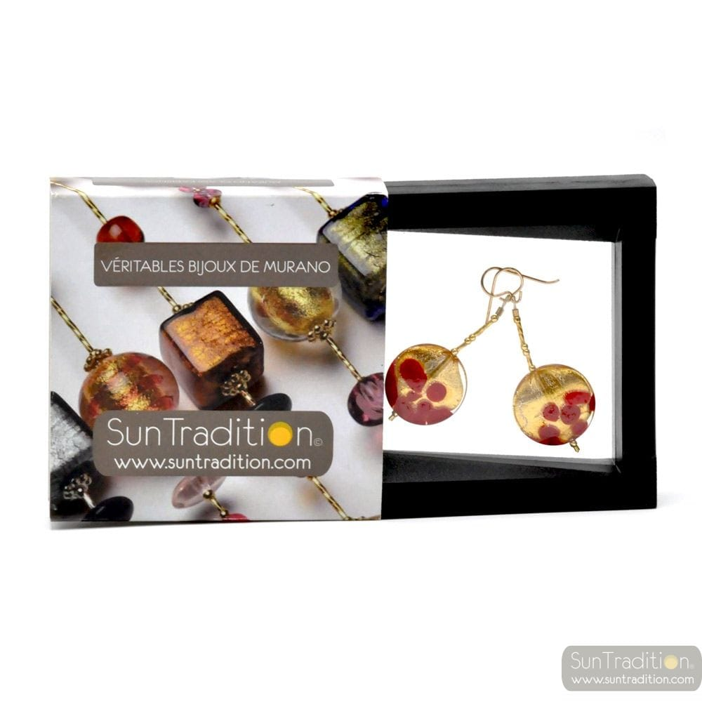 SUNSET RED - earrings PENDING CHIPS RED AND GOLD GENUINE MURANO GLASS OF VENICE