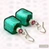 GREEN GENUINE VENETIAN MURANO JEWELRY EARRINGS