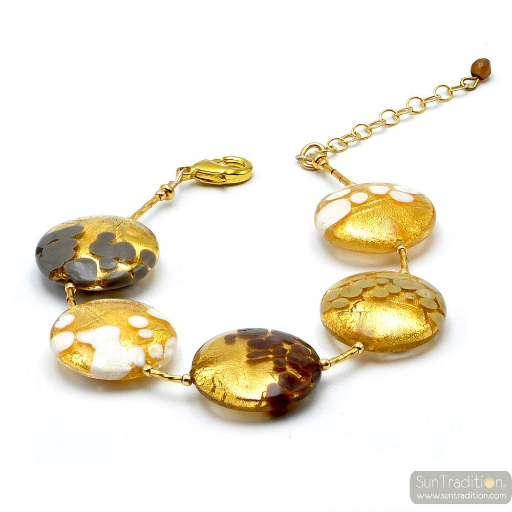WHITE GOLD GREY BROWN MURANO GLASS BRACELET