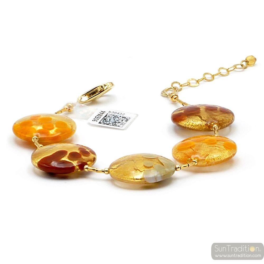 ARMBAND GOLD ORANGE BRAUN GRAU ECHTES MURANO-GLAS