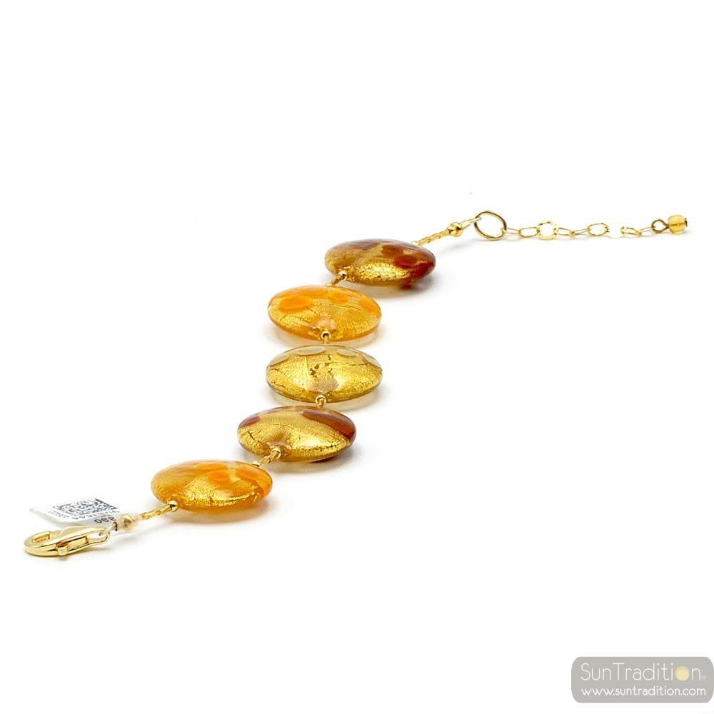 GOLD ORANGE BROWN GRAY BRACELET GENUINE MURANO GLASS