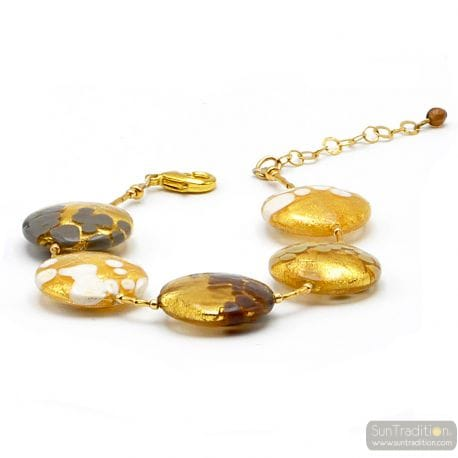 ARMBAND WIT GOUD GRIJS BRUIN IN REAL MURANO GLAS