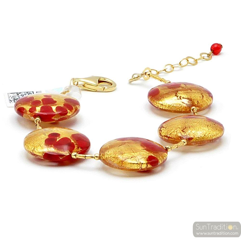 SUNSET VCE - GOLD BRACELET RED GENUINE MURANO GLASS