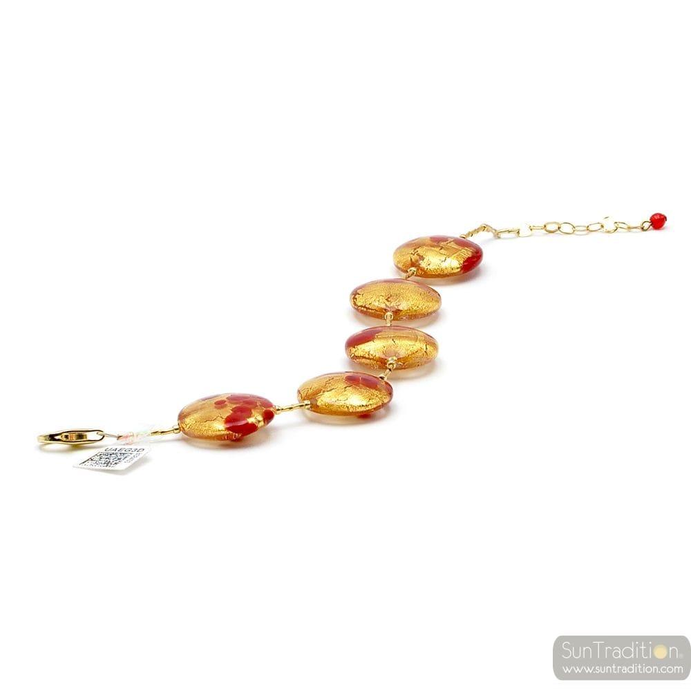 GOLD BRACELET RED GENUINE MURANO GLASS