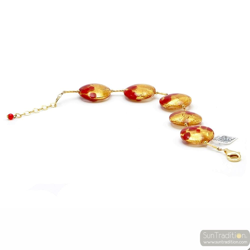 SUNSET VCE - ARMBAND ROT GOLD IN ECHTES MURANO-GLAS