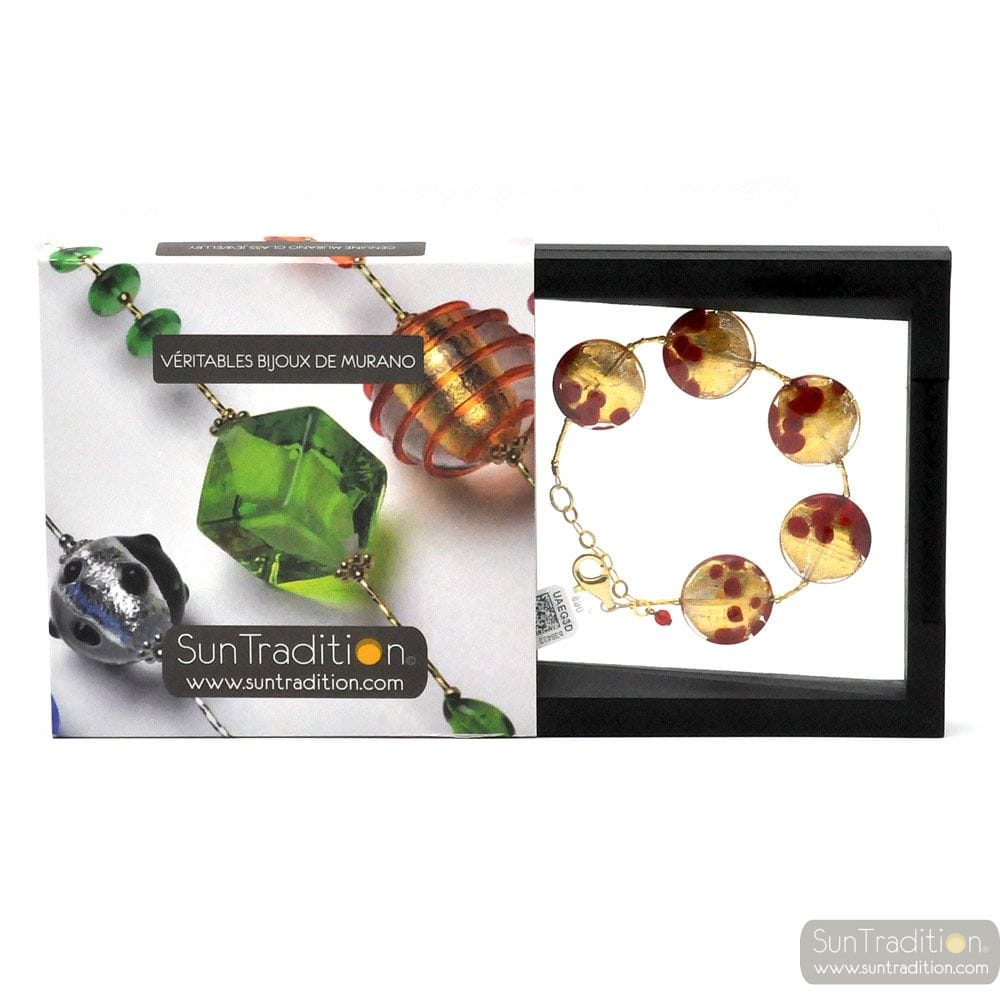 SUNSET VCE - GOLD BRACELET RED GENUINE MURANO GLASS