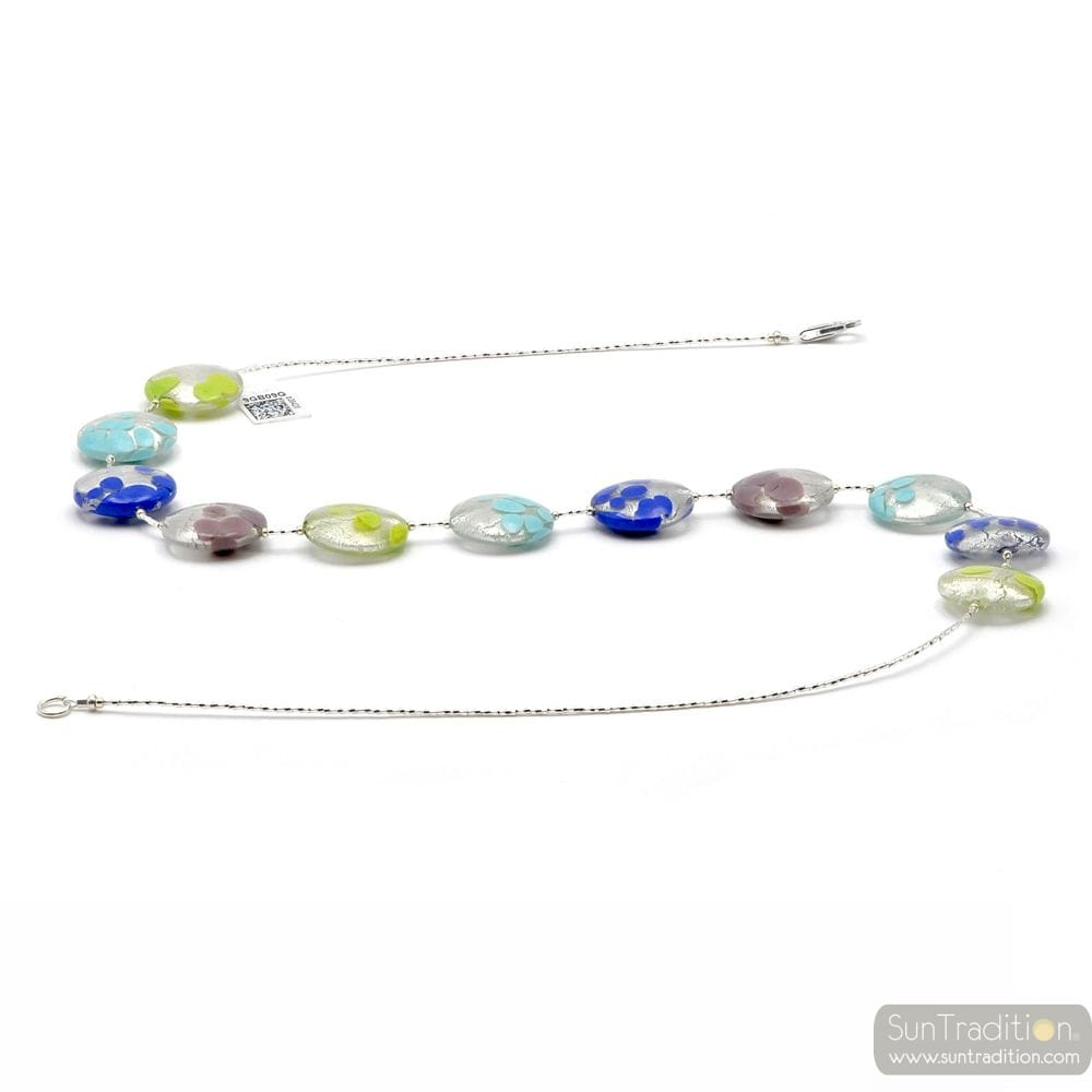 BLUE AND SILVER MURANO GLASS NECKLACE