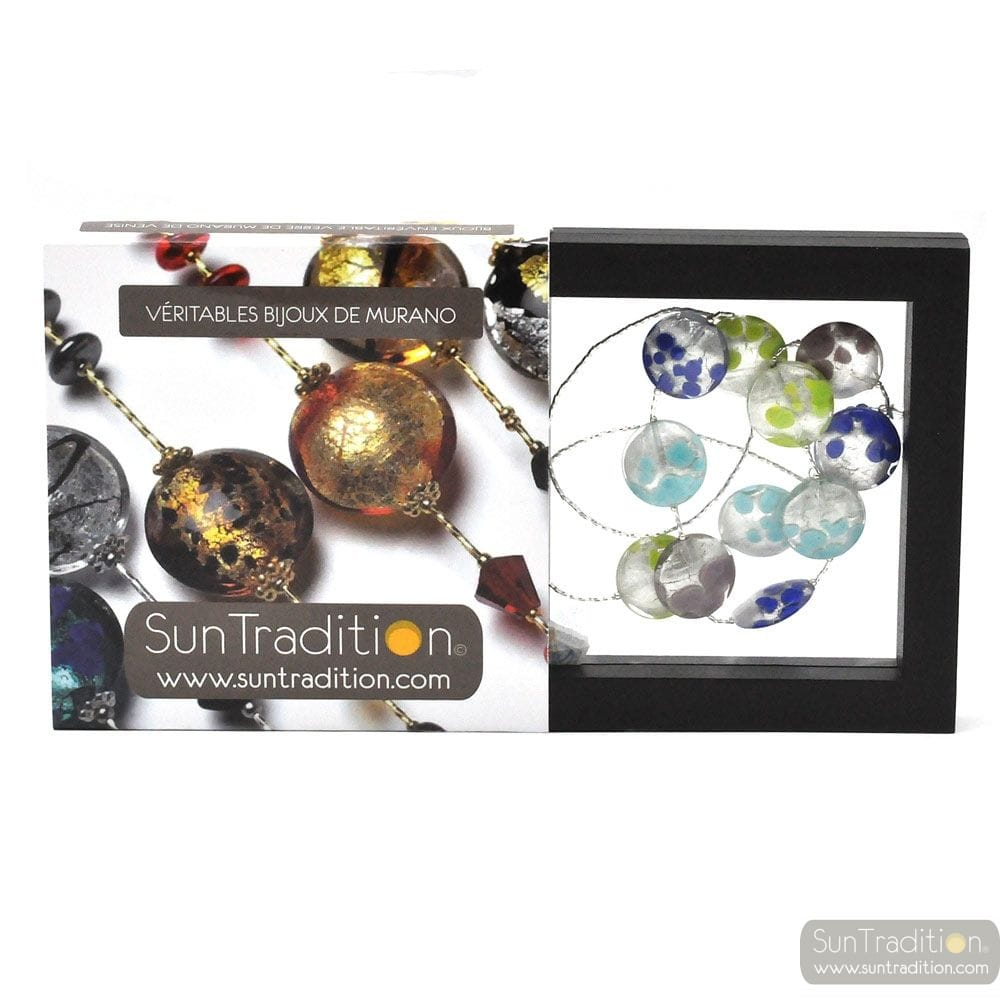 SUNSET FAO - NECKLACE MURANO GLASS BLUE AND SILVER