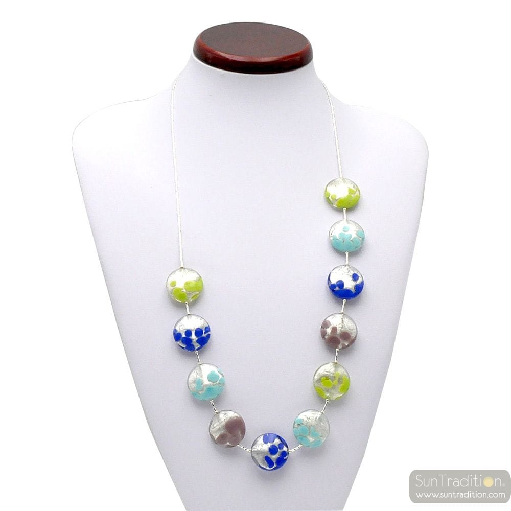NECKLACE MURANO GLASS BLUE AND SILVER