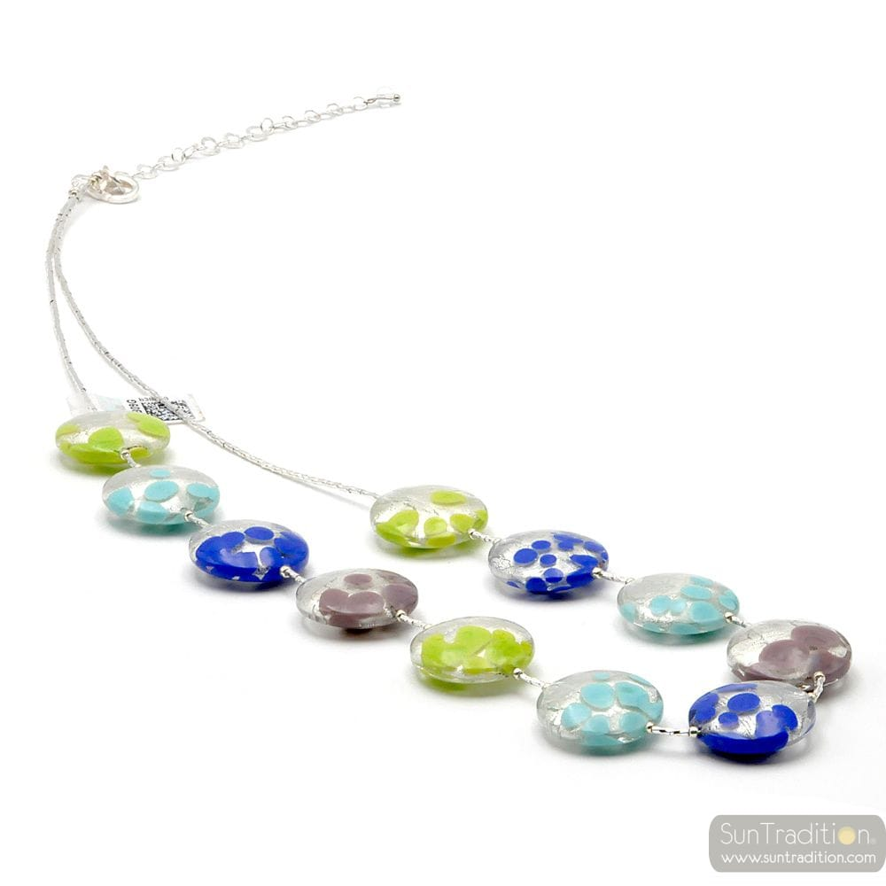 SUNSET FAO - BLUE AND SILVER MURANO GLASS NECKLACE