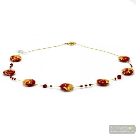 RED AND GOLD MURANO GLASS NECKLACE
