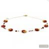 SUNSET VCE - COLLIER EN VERRE DE MURANO ROUGE ET OR