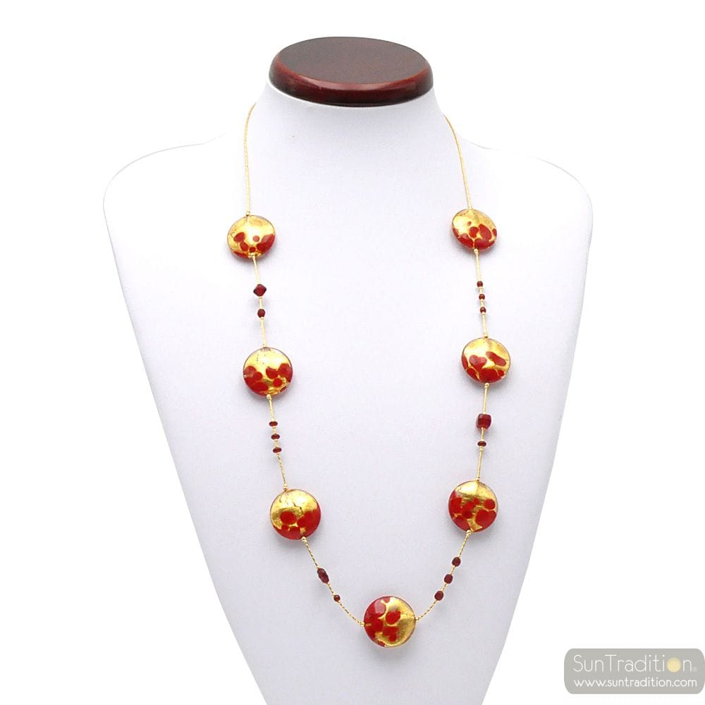 COLLIER EN VERRE DE MURANO ROUGE ET OR