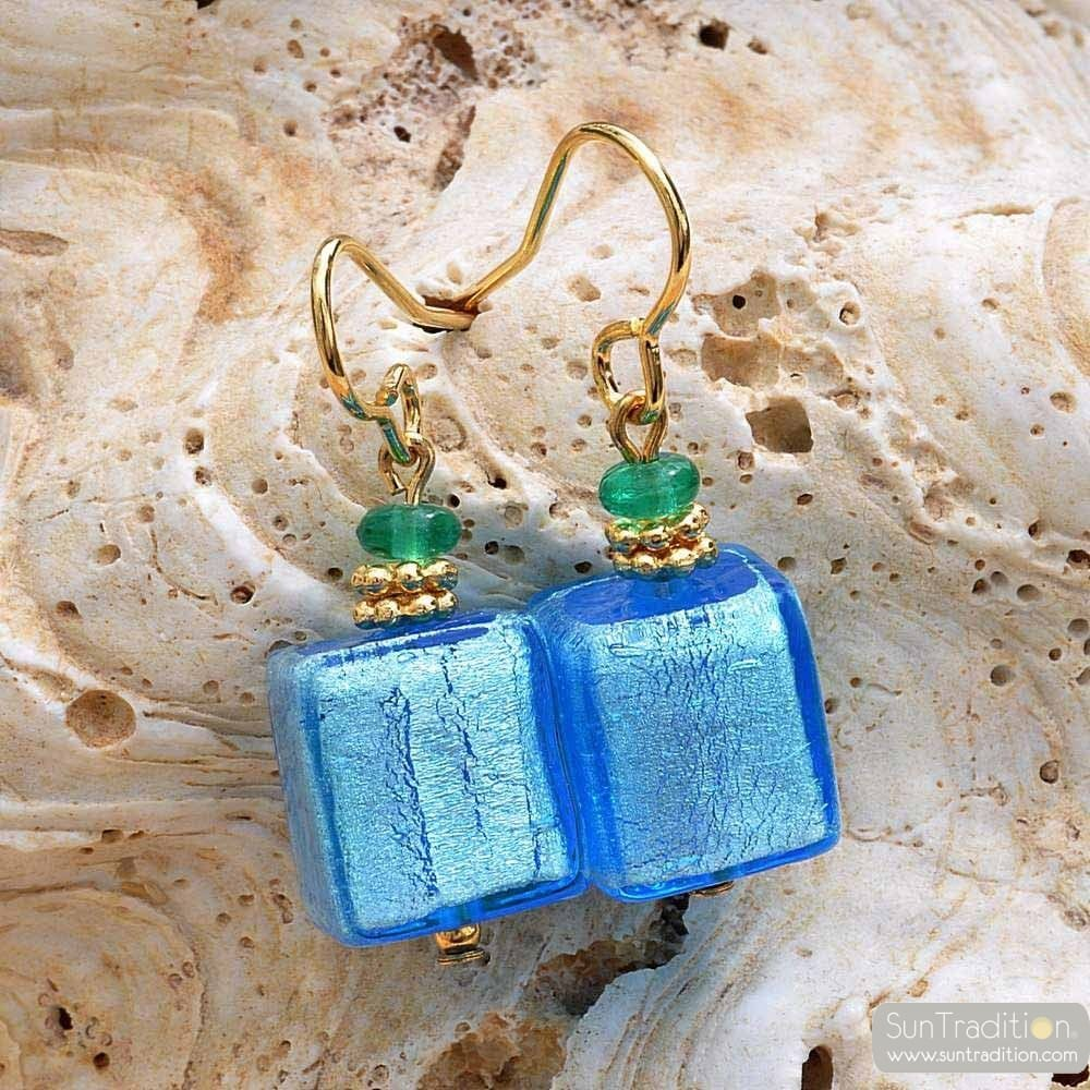 AMERICA - BLUE GOLD EARRINGS GENUINE MURANO GLASS VENICE