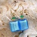 AMERICA - BLUE GOLD EARRINGS GENUINE MURANO GLASS VENICE