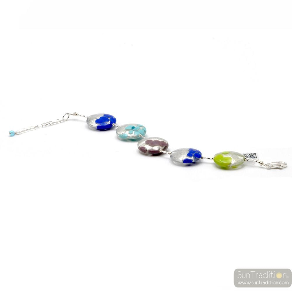 BLUE AND SILVER BRACELET IN REAL MURANO GLASS