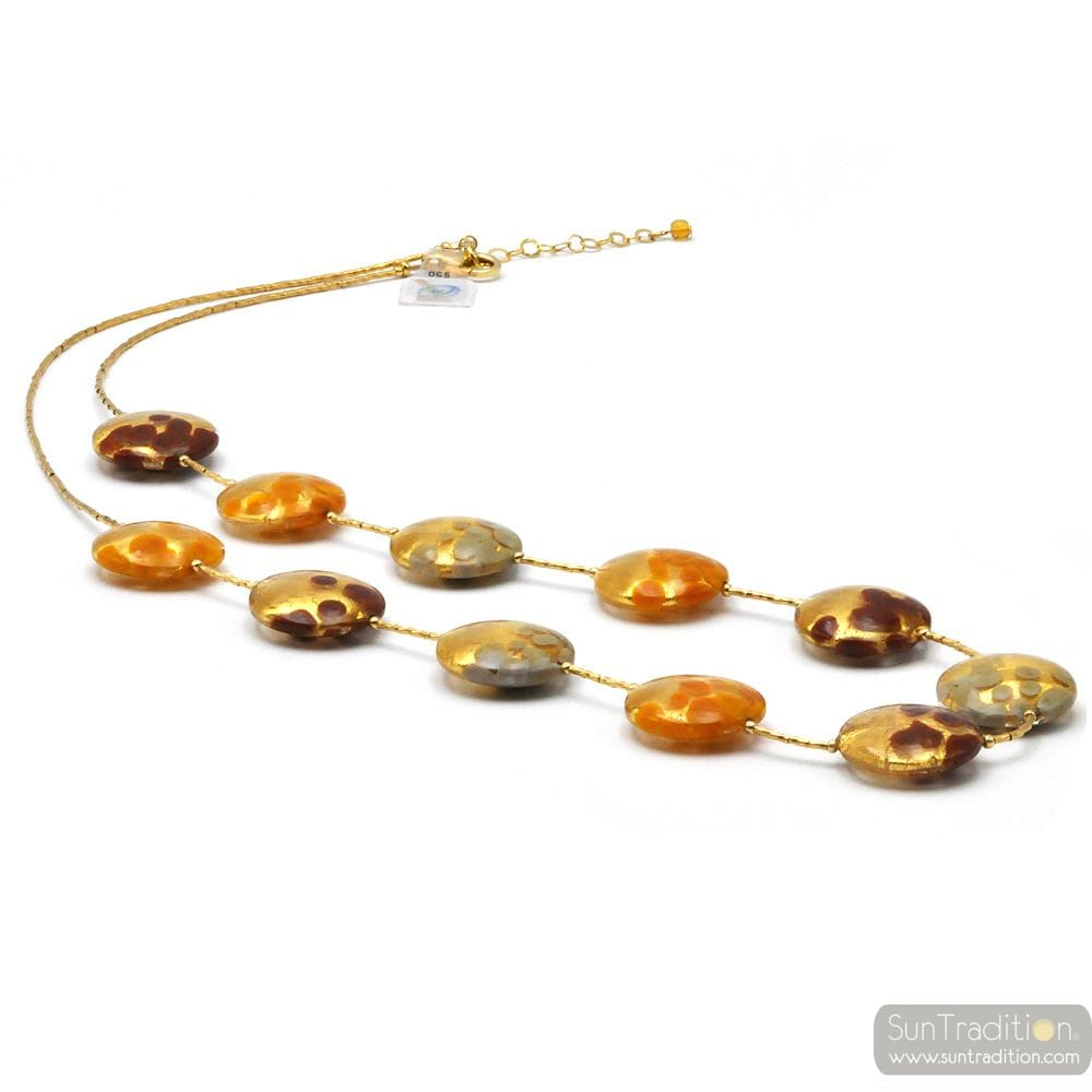 COLLIER EN VERRE DE MURANO OR ORANGE MULTICOLORE