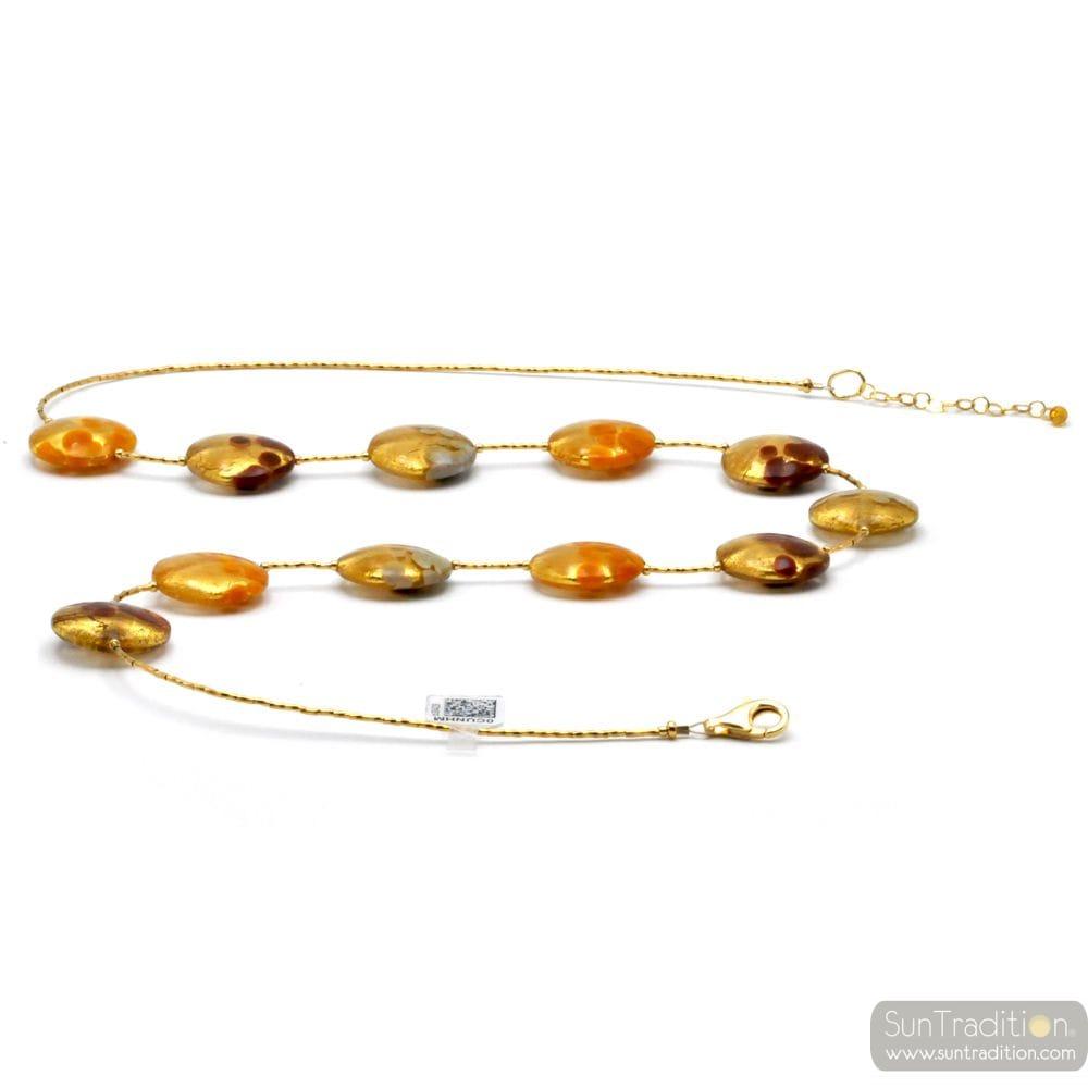 HALSKETTE MIT MURANO GLAS GOLD ORANGE BUNT