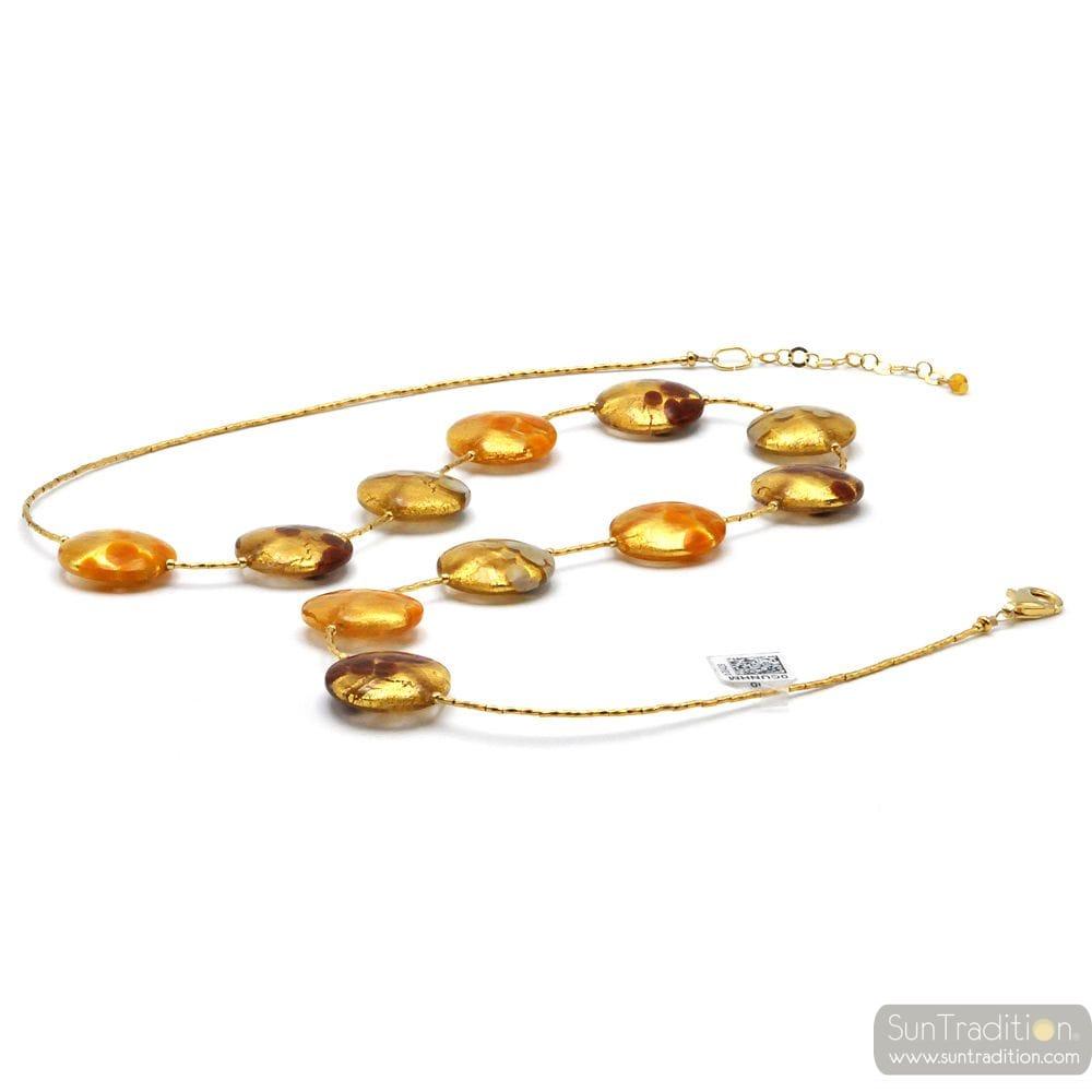 GOLD ORANGE MULTICOLOR NECKLACE MURANO GLASS