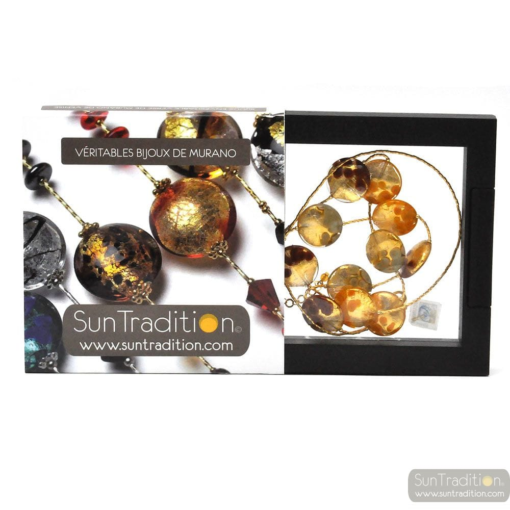 HALSKETTE MIT MURANO-GLAS GOLD ORANGE BUNT