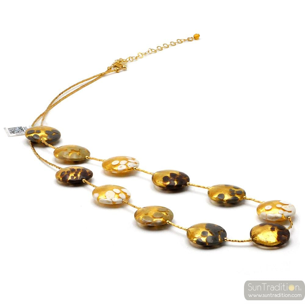 SUNSET ORY - WHITE GREY BROWN MURANO GLASS GOLD NECKLACE