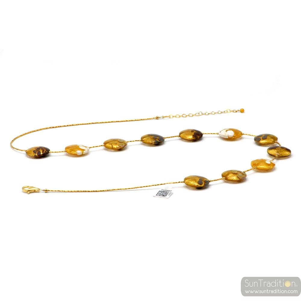 WHITE GREY BROWN MURANO GLASS GOLD NECKLACE