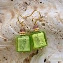 AMERICA - GREEN AND GOLD EARRINGS GENUINE MURANO GLASS VENICE
