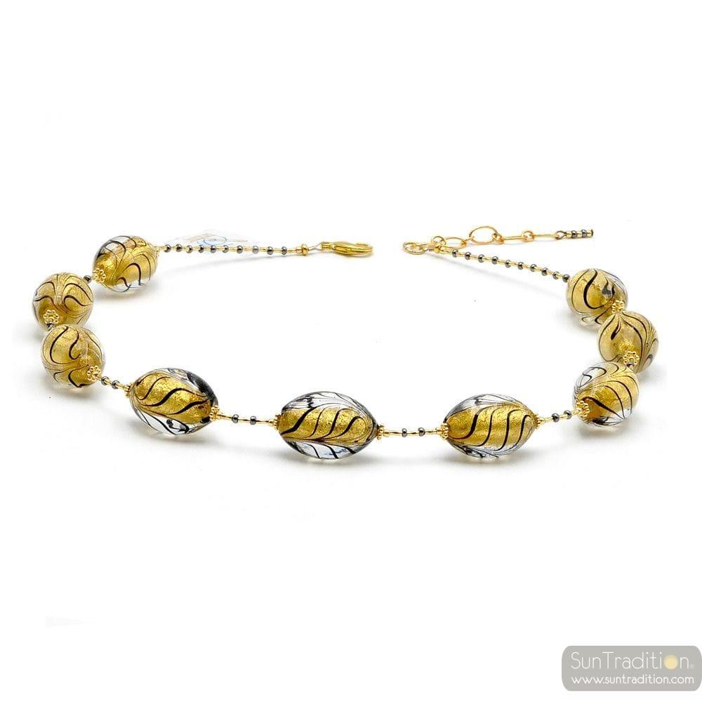 FENICIO BLACK OLIVE AND GOLD - GOLD MURANO GLASS NECKLACE GENUINE MURANO GLASS OF VENICE