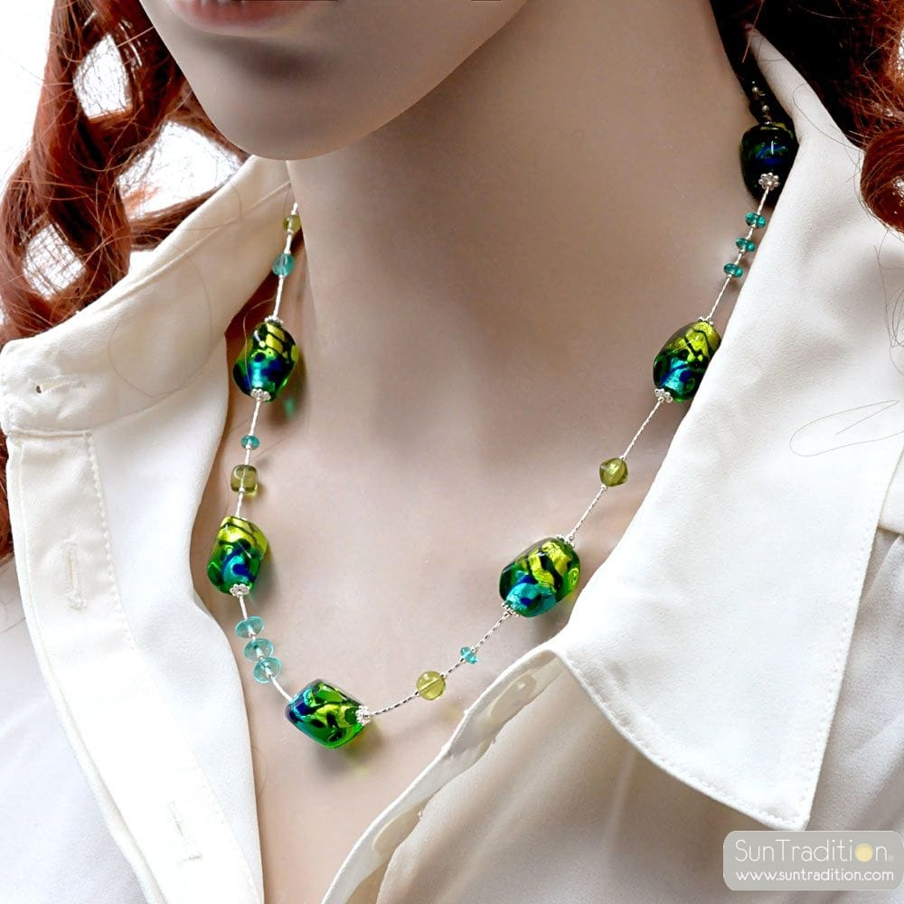 GREEN AND BLUE MURANO GLASS NECKLACE