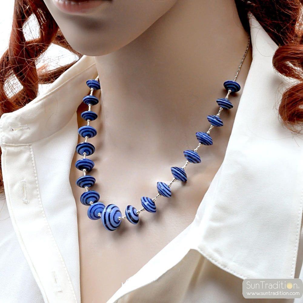 BLUE MURANO GLASS NECKLACE BLUE AVENTURINE VENICE