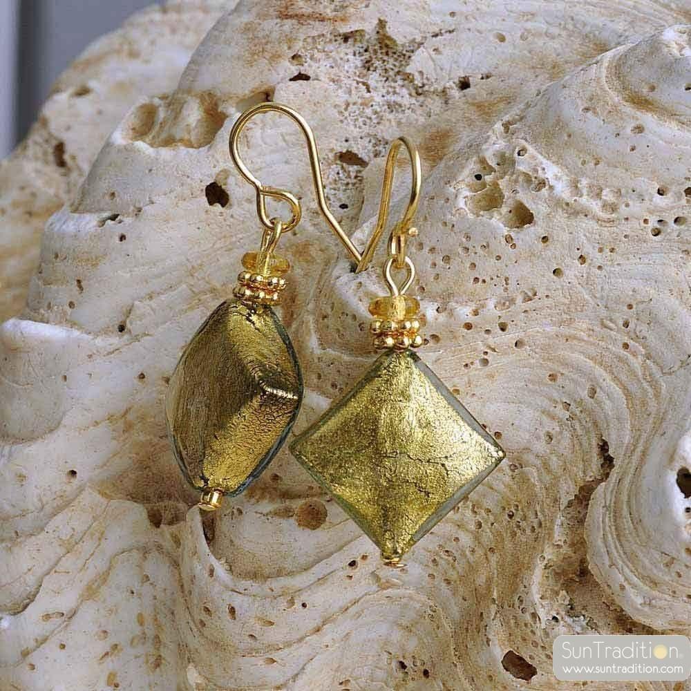 Örhängen i GLAS från MURANO GRÖNA GULD