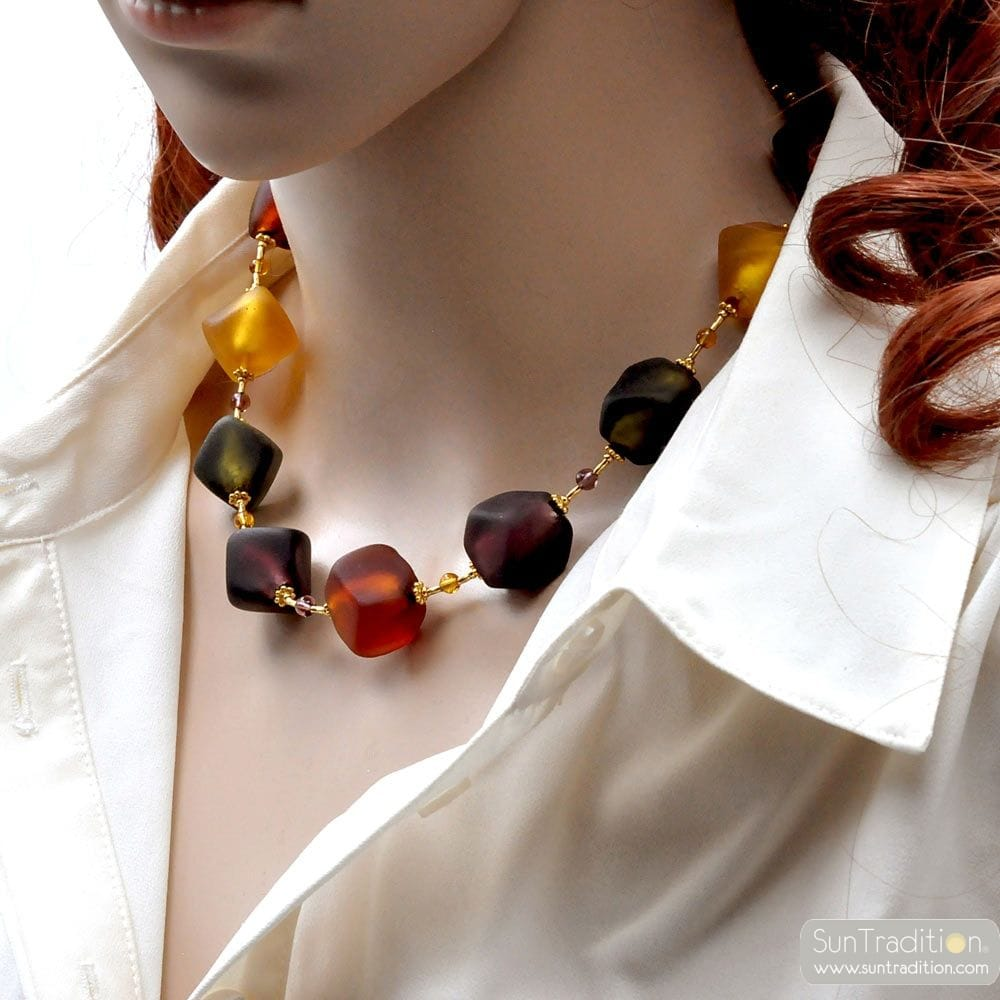 COLLIER VERRE DE MURANO OR MULTICOLORE VENITIEN