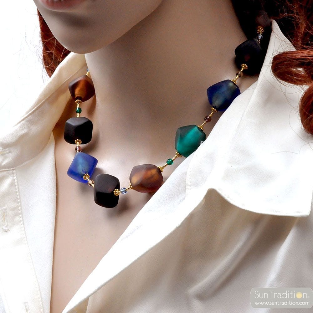BLUE BROWN GOLD MURANO GLASS NECKLACE