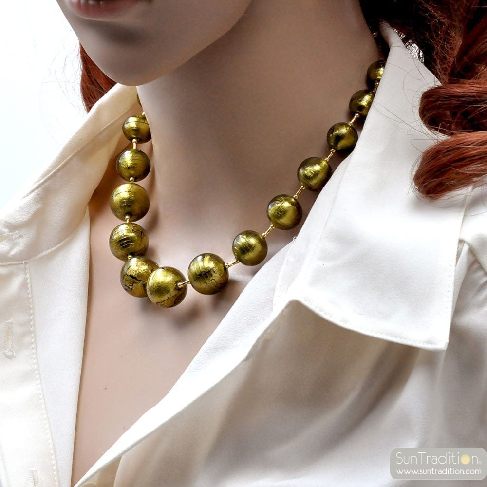 KHAKI MURANO GLASS NECKLACE