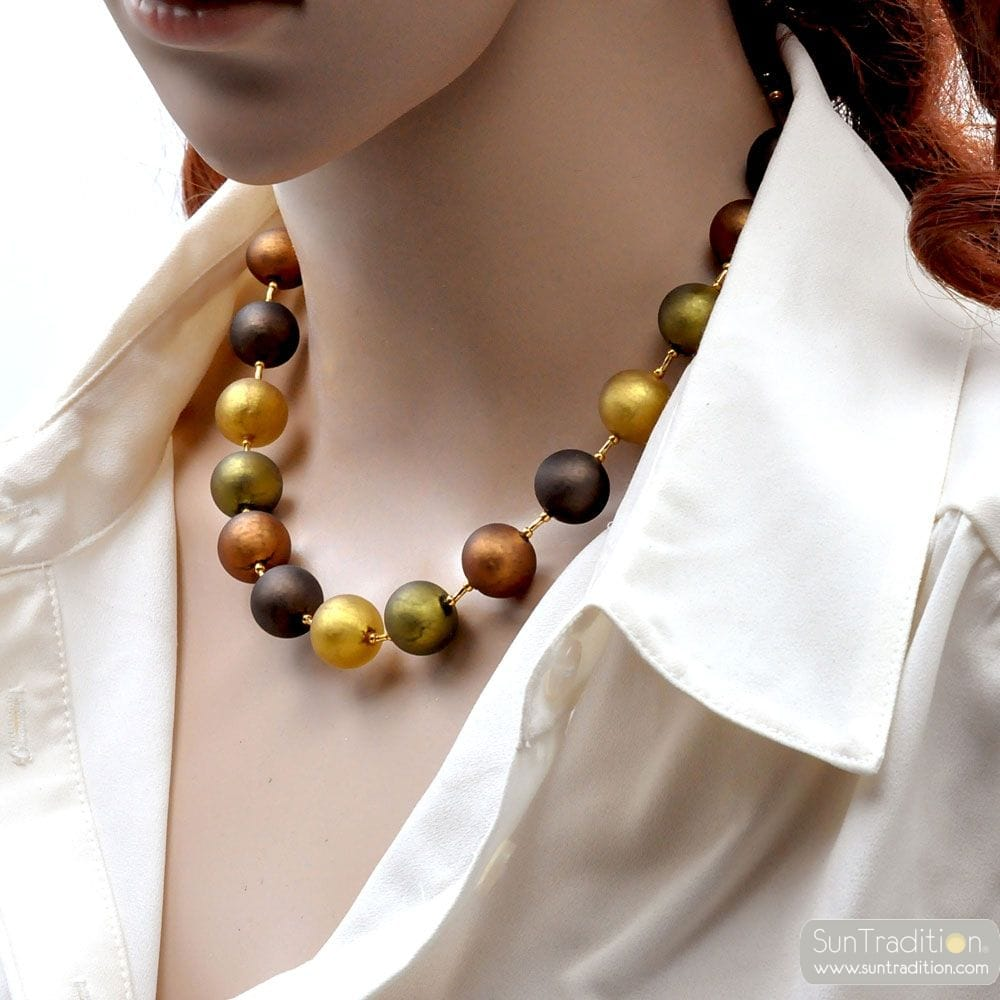 BROWN SATIN MURANO GLASS NECKLACE