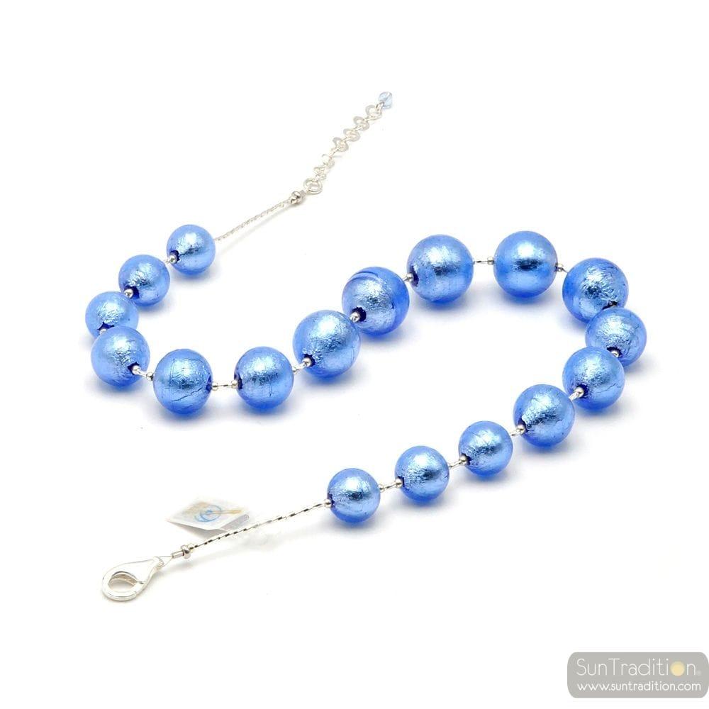 BLUE MURANO GLASS NECKLACE GENUINE MURANO GLASS OF ITALY