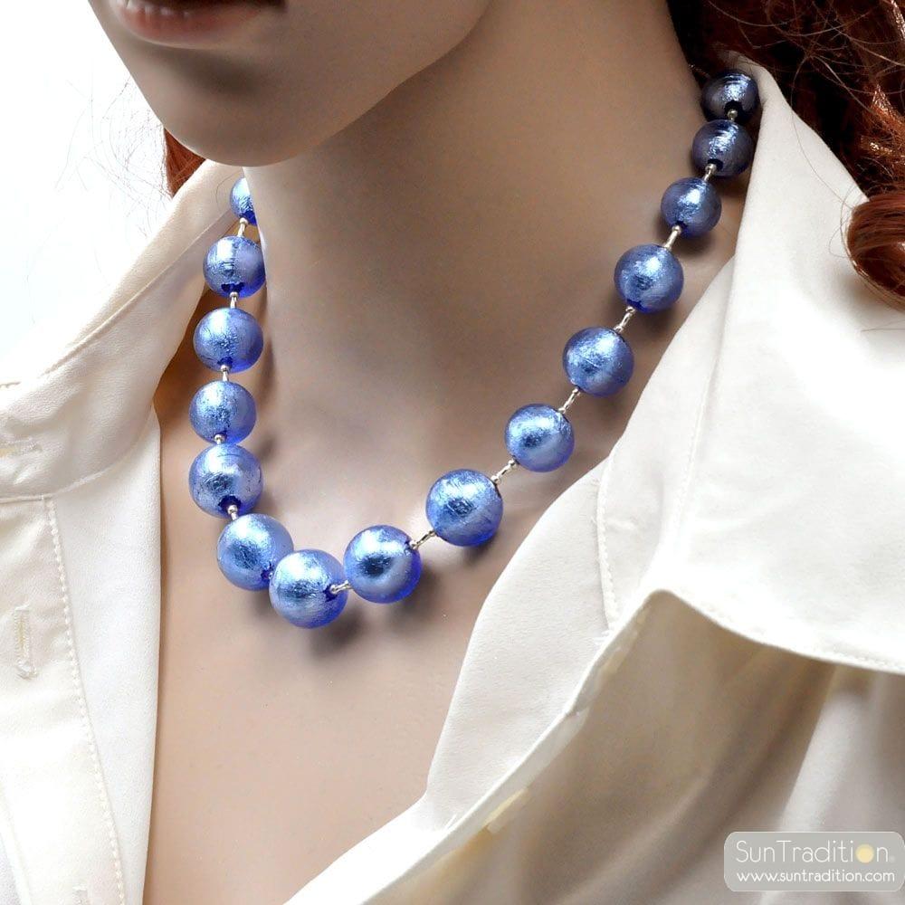 BLUE MURANO GLASS NECKLACE GENUINE MURANO GLASS JEWEL OF VENICE