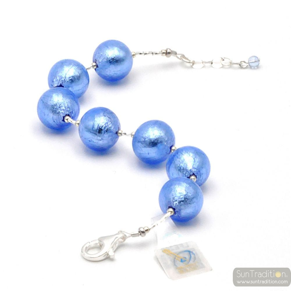 BLUE MURANO GLASS BRACELET SILVER IN GENUINE MURANO GLASS