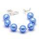 BALL BLUE - BLUE MURANO GLASS BRACELET SILVER IN GENUINE MURANO GLASS FROM VENICE