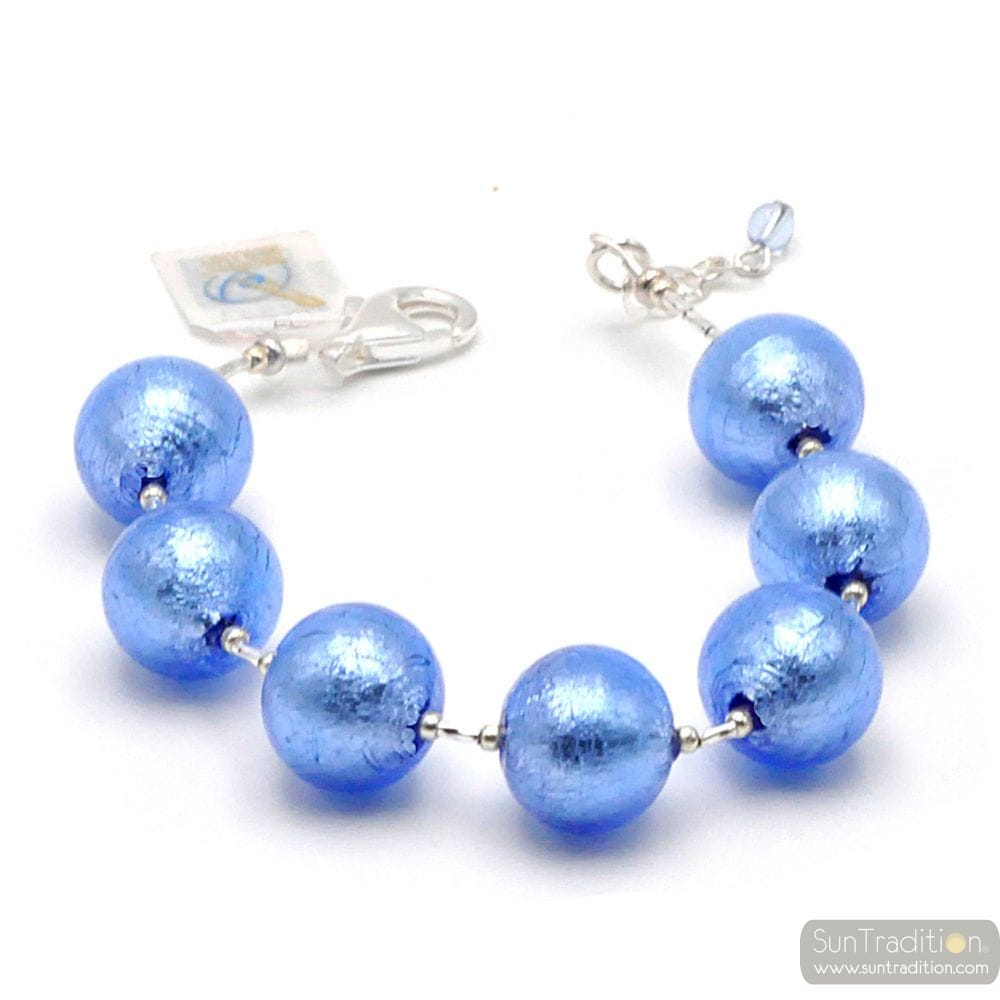 BLUE MURANO GLASS BRACELET SILVER IN GENUINE MURANO GLASS FROM VENICE