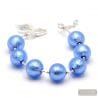 BALL BLUE - BLUE MURANO GLASS BRACELET SILVER IN GENUINE MURANO GLASS FROM VENICE