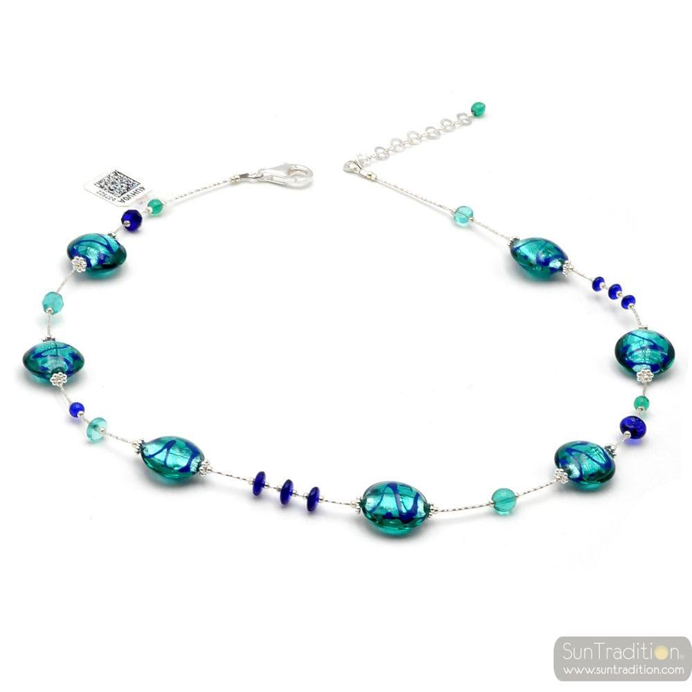 BLUE MURANO GLASS NECKLACE