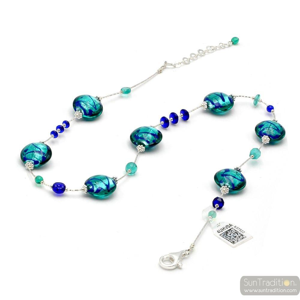 BLUE MURANO GLASS NECKLACE GENUINE FROM VENICE