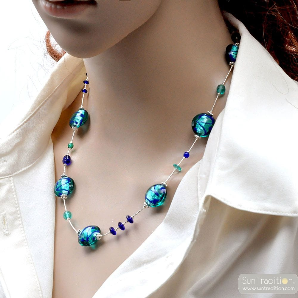 BLUE MURANO GLASS NECKLACE GENUINE JEWEL FROM VENICE
