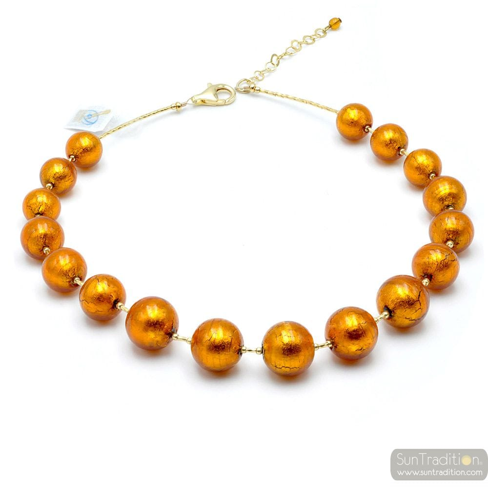 AMBER MURANO GLASS NECKLACE JEWELLERY OF VENICE